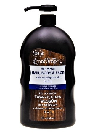 Washing gel for face, body and hair for men with eucalyptus oil 3in1 1L
